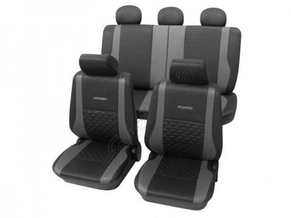 Coprisedili per auto, pelle effetto trapuntato, set completo, VW Käfer ,antracite nero grigio