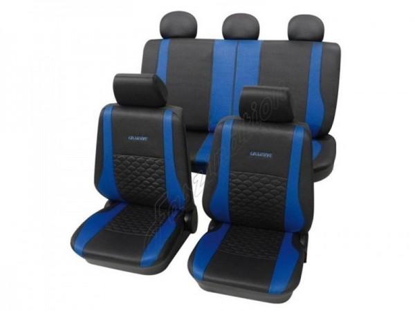 Coprisedili per auto, pelle effetto trapuntato, set completo, VW Käfer ,antracite nero blu